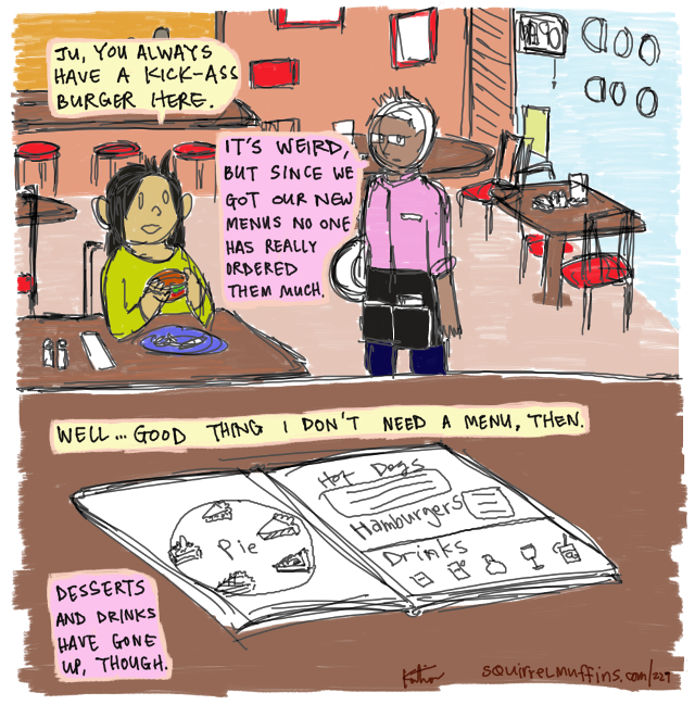 i'm really proud of this one because there's a whole bunch of jokes in the second panel. what a payoff!