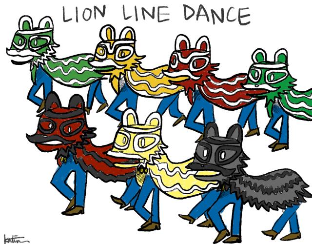 Back row: Zhao Yun, Huang Zhang, red lion (mario), green lion (luigi). Front row: Guan Yu, Liu Bei, Zhang Fei