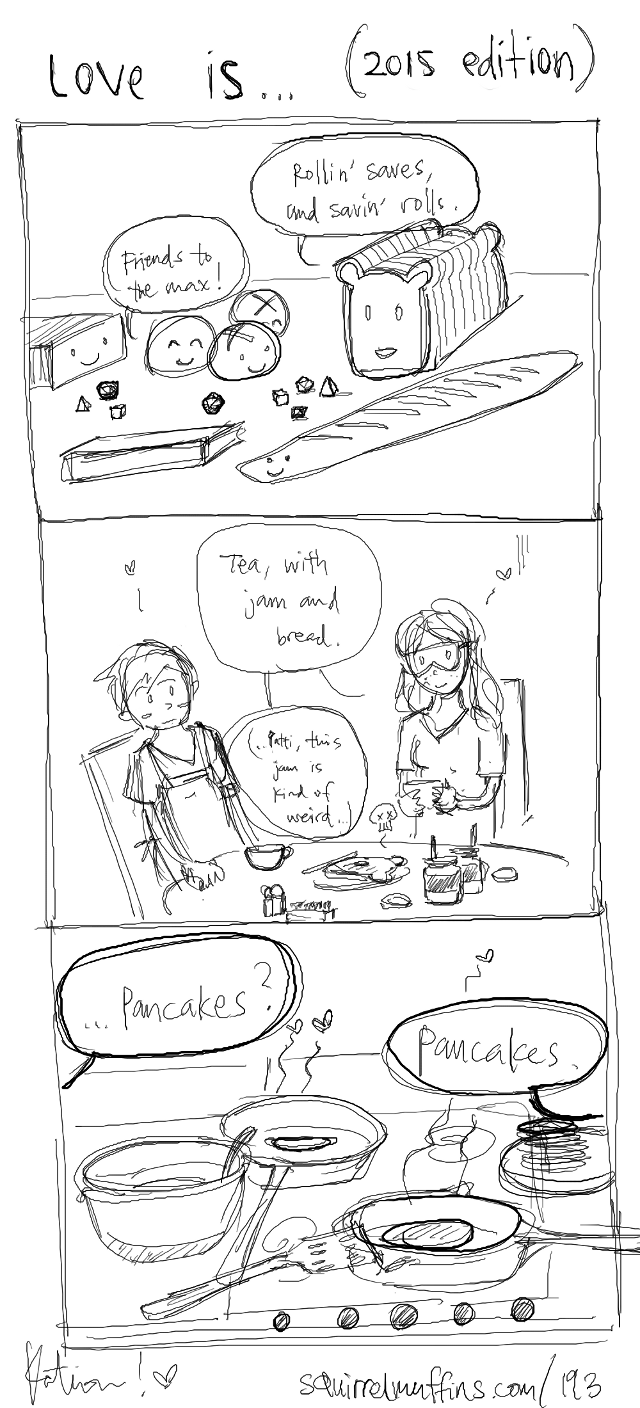 love is traffic jam, and tonberry jam, and semi-regular updates...??? (but have a bonus comic, just in case. <3)